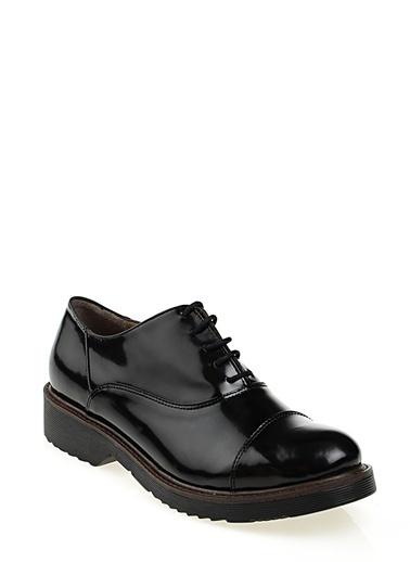 Cotton Bar Rugan Dikişli Düz Erkek Klasik Ayakkabı Siyah
